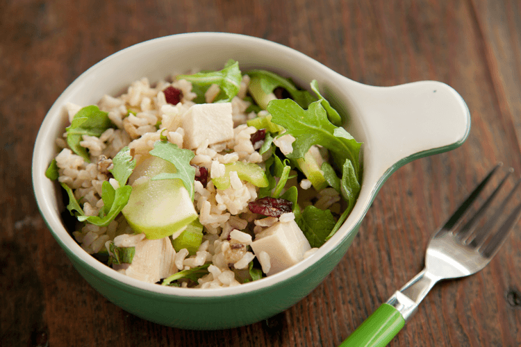 Brown Rice and Smoked Turkey Salad Recipe with Apples, Walnuts, and Mint