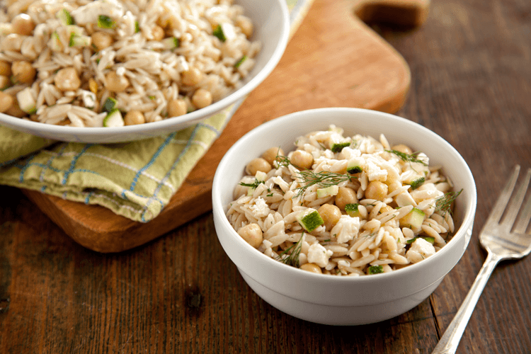 Orzo Salad with Chickpeas, Feta, Lemon, and Dill Recipe