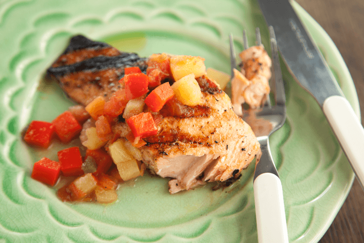 Pepper-Crusted Grilled Salmon Recipe with Tropical Fruit Salsa