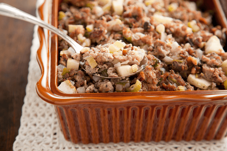 Southern-Style Sausage Stuffing Recipe with Apples and Walnuts
